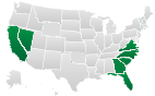 Electronic Lien and Title States - Georgia, California and Florida.